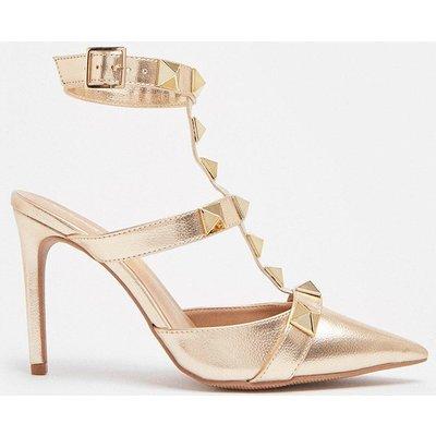 Coast Stud Detail Open Back Court Shoe -, Gold