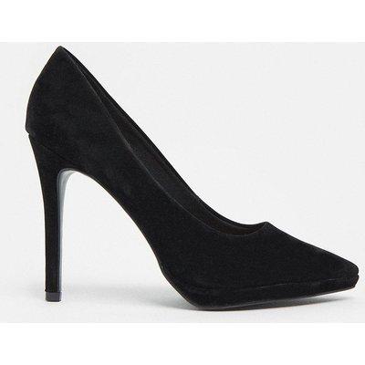 Coast Suede Court Shoe -, Black