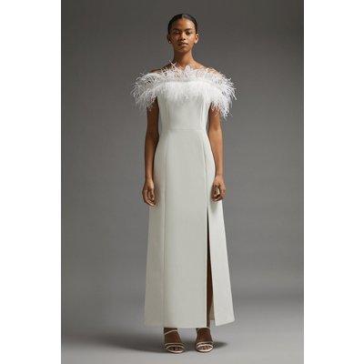 Coast Premium Feather Bardot Maxi Dress -, Ivory