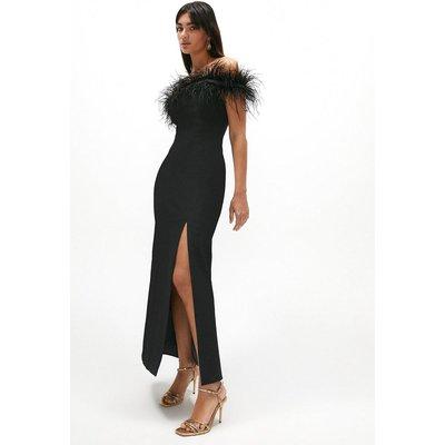 Coast Premium Feather Bardot Maxi Dress -, Black