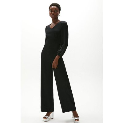 Coast Premium Satin Wide Leg Jumpsuit -, Black