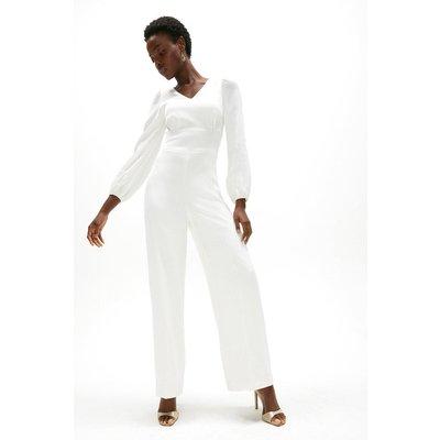 Coast Premium Satin Wide Leg Jumpsuit -, Ivory