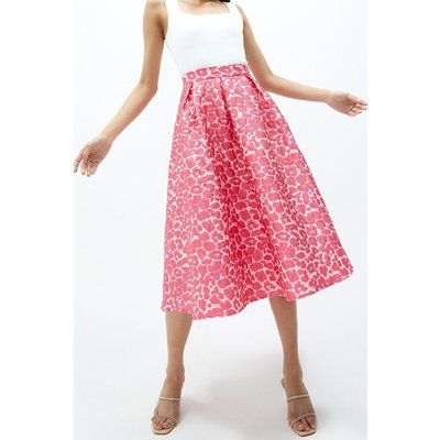 Coast Leopard Jacquard Full Midi Skirt -, Pink
