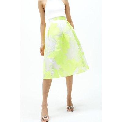 Coast Floral Jacquard Midi Skirt -, Yellow