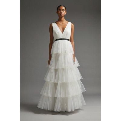 Coast V Neck Tiered Tulle Dress -, Ivory