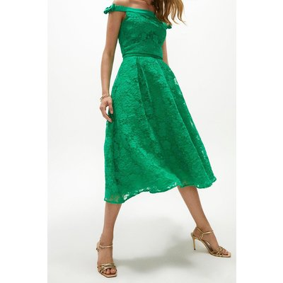 Coast Floral Embroidered Organza Full Midi Skirt -, Bright Green
