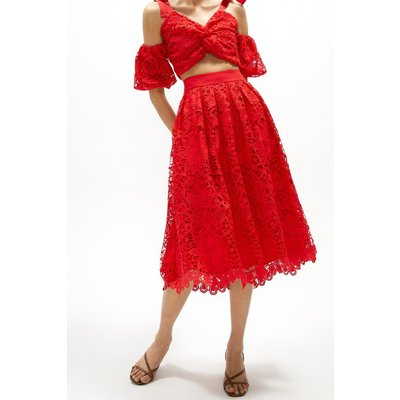 Coast Crochet Lace Scallop Hem Midi Skirt -, Red