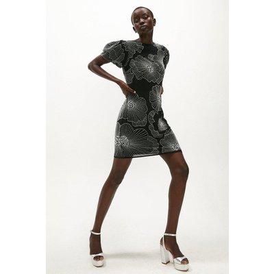Coast Embellished Lily Puff Sleeve Dress -, Black