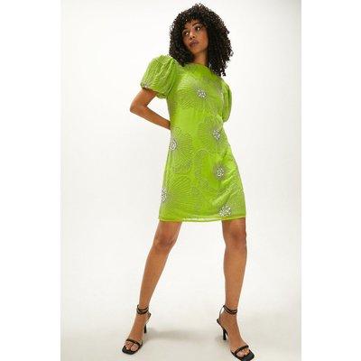 Coast Embellished Lily Puff Sleeve Dress -, Green