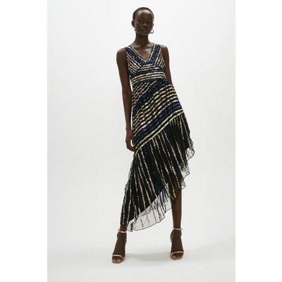 Coast Sequin Asym Hem Midaxi Dress -, Black