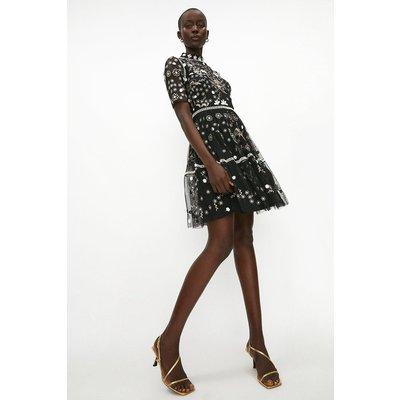 Coast Embellished Detail High Neck Dress -, Black