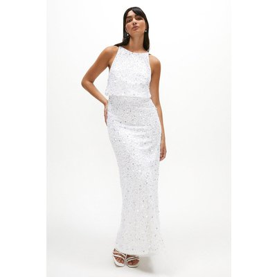 Coast All Over Sequin Backless Maxi Dress -, Ivory