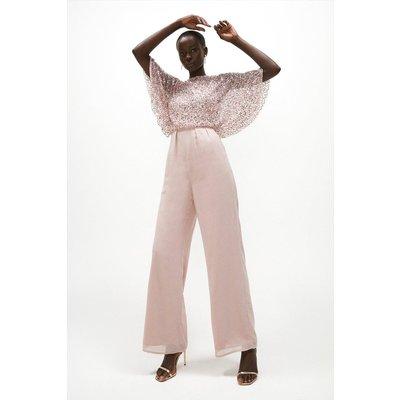 Coast Embellished Sequin Cape Top Wide Leg Jumpsuit -, Pink