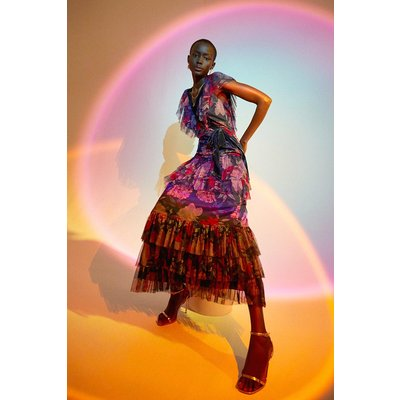 Coast Tulle And Velvet Mix Wrap Maxi Dress -, Purple