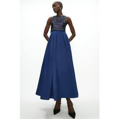 Coast Structured Satin Maxi Skirt -, Navy
