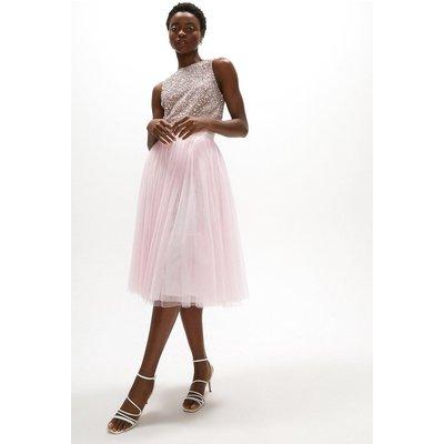 Coast Tulle Midi Skirt -, Pink
