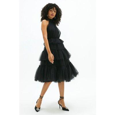 Coast High Neck Tulle Tiered Midi Dress -, Black