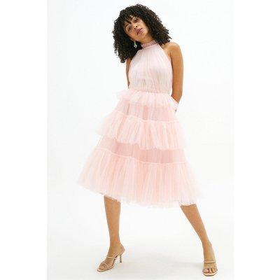 Coast High Neck Tulle Tiered Midi Dress -, Pink
