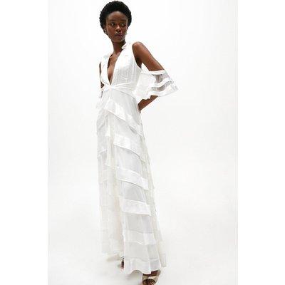 Coast Satin Tiered Cold Shoulder Maxi Dress -, White