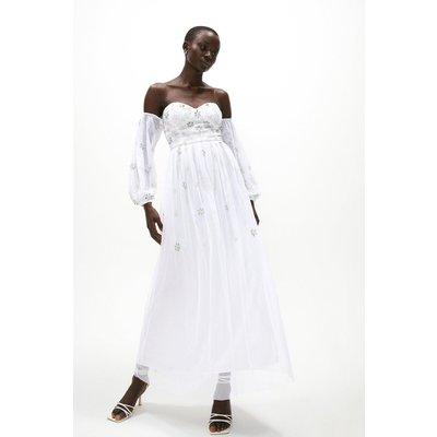 Coast Embellished Bardot Maxi Dress -, Ivory