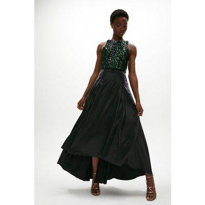 Coast Satin High Low Maxi Skirt -, Black