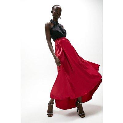 Coast Satin High Low Maxi Skirt -, Red