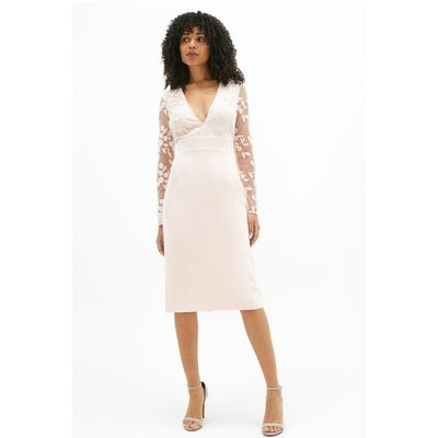 Coast Open Back Embroidered Midi Dress -, Pink