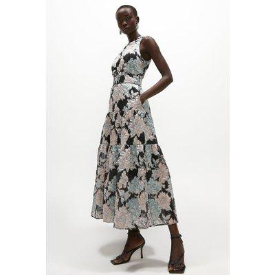Coast Premium Jacquard Tiered Midaxi Dress -, Black