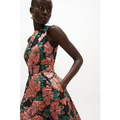 Coast Premium Jacquard Tiered Midaxi Dress -, Pink