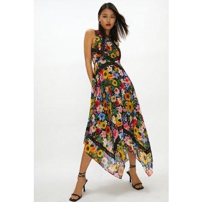 Coast Floral Lace Trim Midi Dress -, Black