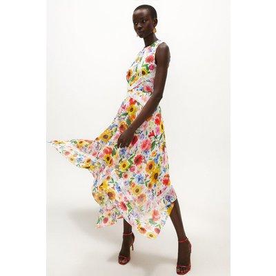 Coast Floral Lace Trim Midi Dress -, Ivory