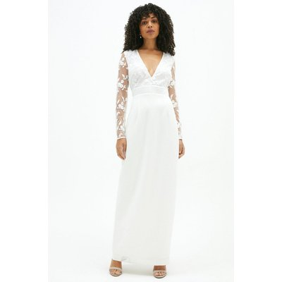 Coast Open Back Embroidered Maxi Dress -, Ivory