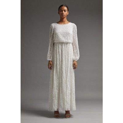 Coast All Over Sequin Long Sleeve Maxi Dress -, Ivory