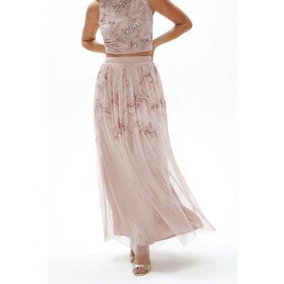 Coast Hand Embellished Midi Skirt -, Pink