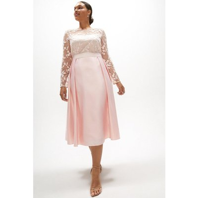 Coast Curve Embroidered Bodice Satin Skirt Dress -, Pink