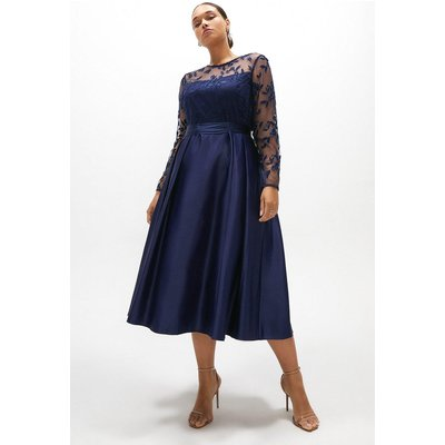 Coast Curve Embroidered Bodice Satin Skirt Dress -, Navy