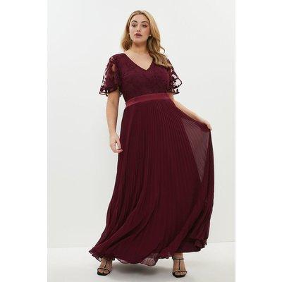 Coast Curve V Neck Embroidered Maxi Dress -, Aubergine