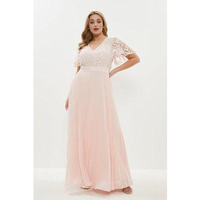Coast Curve V Neck Embroidered Maxi Dress -, Pink