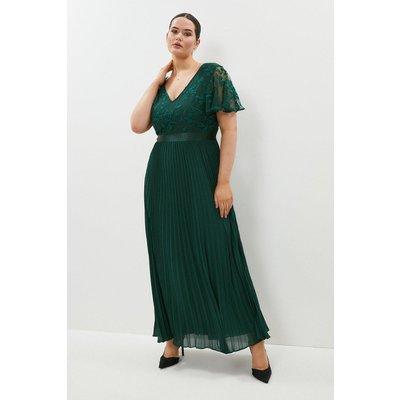 Coast Curve V Neck Embroidered Maxi Dress -, Green