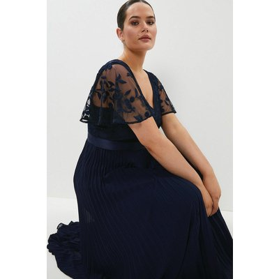 Coast Curve V Neck Embroidered Maxi Dress -, Navy