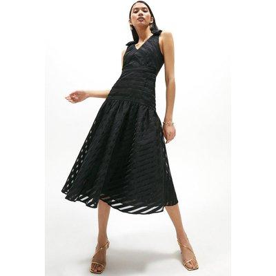 Coast Stripe Organza Bow Detail Shoulder Dress -, Black