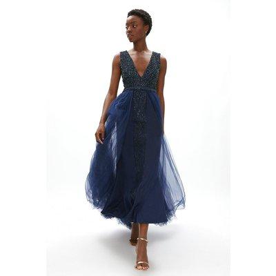 Coast Embellished Bodice Full Skirt Maxi Dress -, Navy