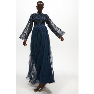 Coast Embellished Open Back Flare Sleeve Maxi Dress -, Navy