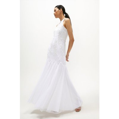 Coast Halter Neck Hand Embellished Dress -, Ivory
