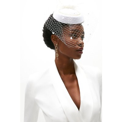 Coast Netted Fascinator With Feather Detail -, Ivory