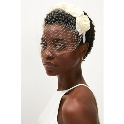 Coast Netted Fascinator With Beaded Rose Flowers -, Ivory