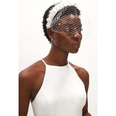 Coast Netted Fascinator Headband With Beaded Detail -, Ivory