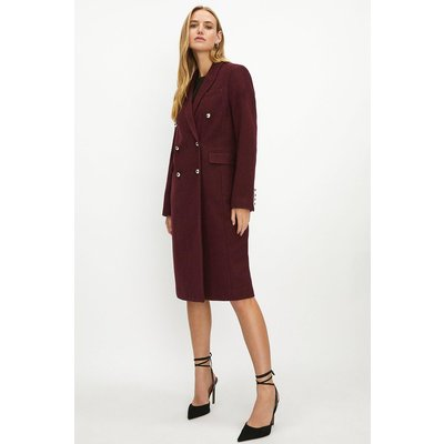 Coast Wool Mix Long Line Double Breasted Formal Coat -, Red