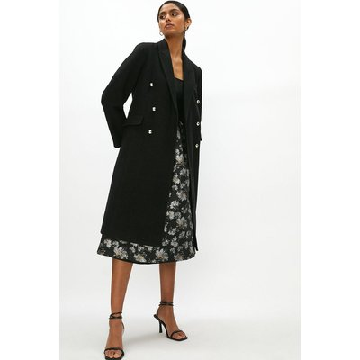 Coast Wool Mix Long Line Double Breasted Formal Coat -, Black