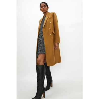 Coast Wool Mix Long Line Double Breasted Formal Coat -, Camel